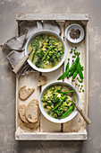 Spring vegetable chunky soup, view from above