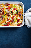 Cheesy pumpkin and black bean soft taco bake