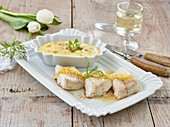 Steamed halibut with mashed celeriac and potatoes