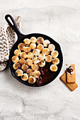 S'mores dip - toasted marshmallow, chocolate and biscuits