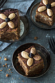 Honey cake with almonds and dried fruit