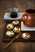 Cod Tartlets with Green Peppers and Aioli Sauce (Spain)