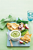 Broad bean and labne dip with sesame pitta