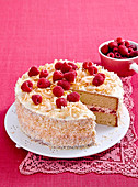 Coconut and raspberry buttercream cake