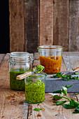 Various jars of pesto