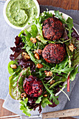 Wild herb salad with red cabbage balls