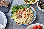 Homemade hummus made from chickpeas and beans with garlic