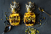 Pineapple baked and served with honey