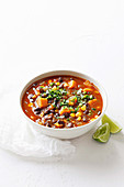 Spicy black bean and corn soup with chilli