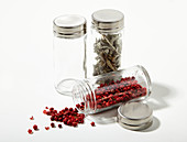 Spices in screw-top jars with metal lids