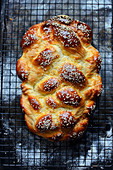 Challah (fresh bread) with sesame seeds
