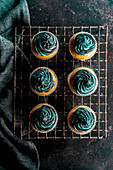 Cupcake mit schwarzer Buttercreme und Glitter