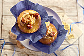 Toffee muffins in paper cases and on a cake stand