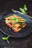 Strawberry and Serrano ham lasagne with filo pastry and balsamic cream