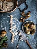 Kastaniengnocchi mit Steinpilzen (ungekocht)