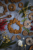 A gingerbread man wreath decoration for Christmas
