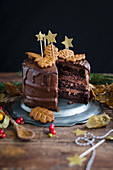 Vegan chocolate gingerbread layer cake