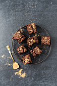 Brownies decorated with gold powder (seen from above)