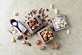Various popcorns: sweet, salty, with chocolate and caramel