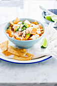 A bowl with mexican chicken tortilla soup