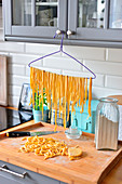 Tagliatelle pasta, drying pasta, drying pasta on a hanger