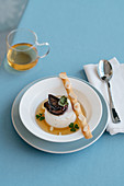 Bavarian Cream with Herb Tea and Candied Fruit