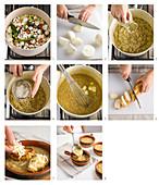 Vorbereitung von Zuppa di cipolle (Italien)