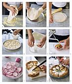 Pizza mit Kirschtomaten, Burrata Käse und Zwiebeln aus Tropea zubereiten