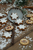 Cinnamon stars and German Christmas biscuits with sugar nibs