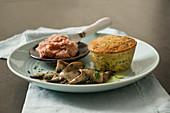 Portobello mushroom flan with pancetta pesto