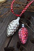 Antique, glass, pinecone Christmas baubles