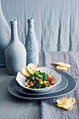 Spinach and Chickpea Warm Salad in Anchovy Sauce
