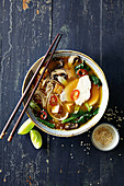 Japanese chicken noodle soup with tofu croutons