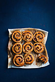 Sticky spelt, apple and date scrolls