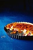 Custard and rhubarb toffee tart