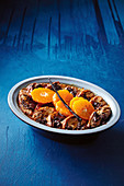 Choc-brioche pudding with spiced mandarins