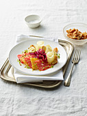 Citrus and Caciocavallo Cheese Carpaccio with Pistachios and Red Onions