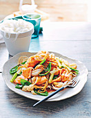 Teriyaki salmon and noodle stir-fry