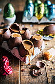 Easter eggs with salted caramel