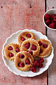 Raspberry almond tarts