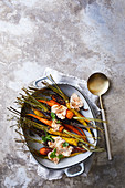 Roasted colourful carrots with cumin yoghurt sauce