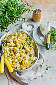 Pasta bake with cauliflower, thyme and Parmesan