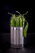 Pea Pods in a Metal Tin