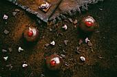 A chocolate tart with cherries