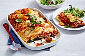 Cannelloni mit Huhn, Spinat und Tomaten