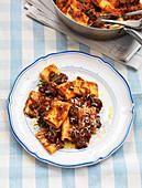 Paccheri pasta with beef ragu