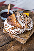 Fresh sourdough bread with a decorative crust