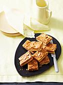 Caramel almond slice