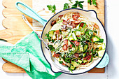 Grain Spaghetti with Bacon, Zucchini and Paremesan
