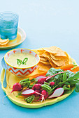 White cheese dip with radish